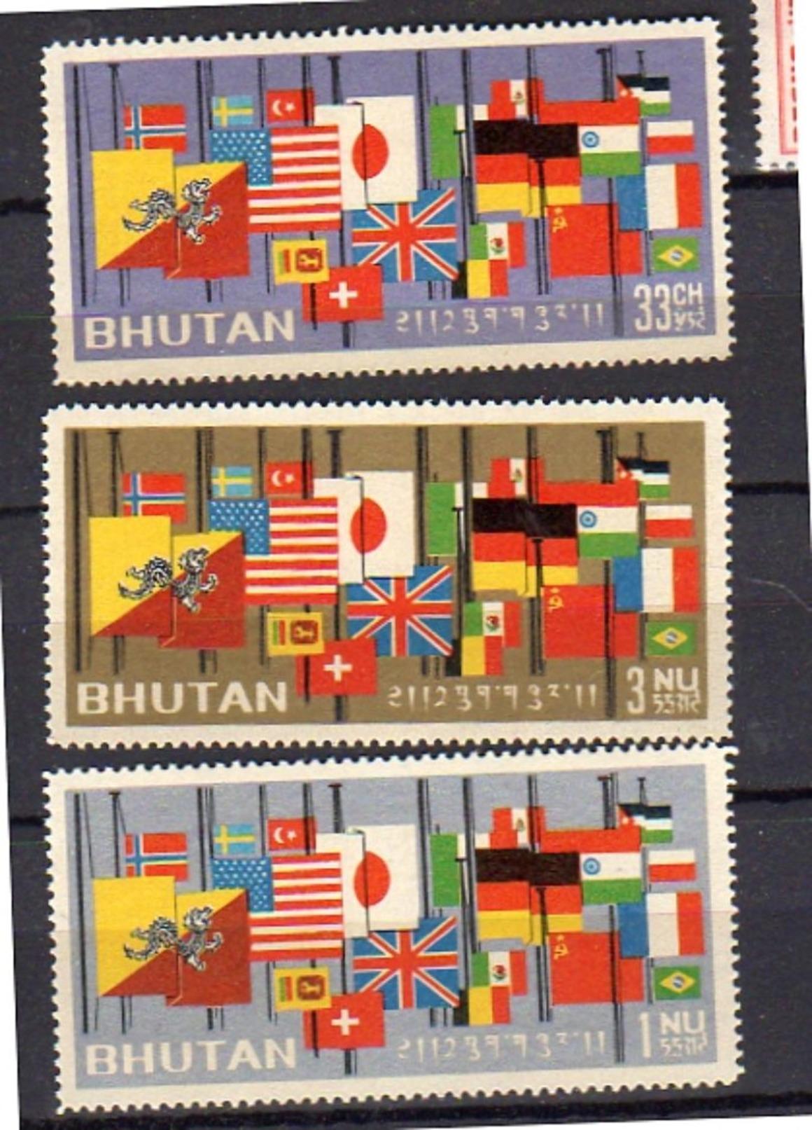 1964 Flag MNH Michel 40-2 VF Compete Set (b36) - Bhoutan