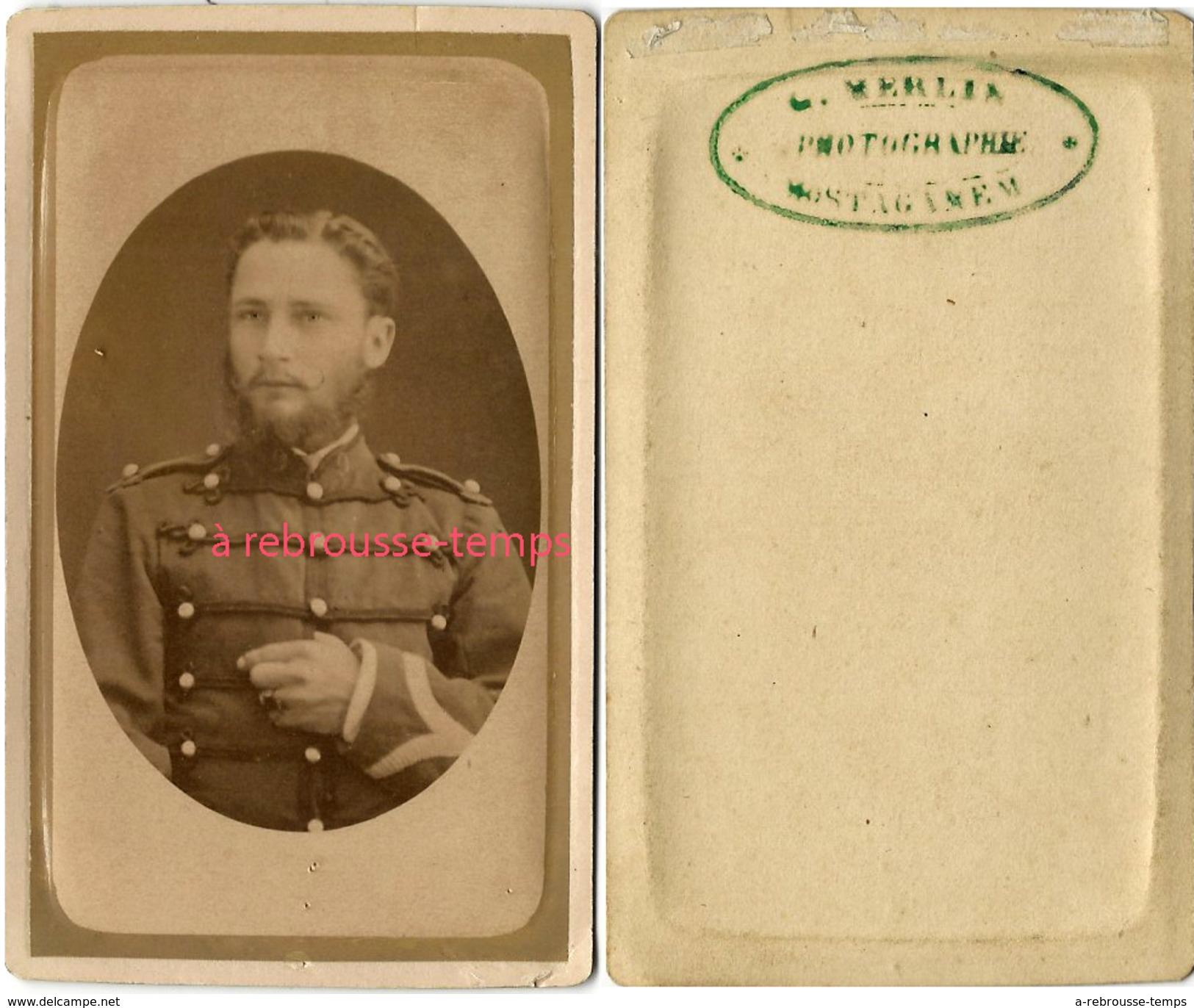 CDV Soldat Du 9e R-photographie Merlin Lieu à Déchiffrer - Guerre, Militaire