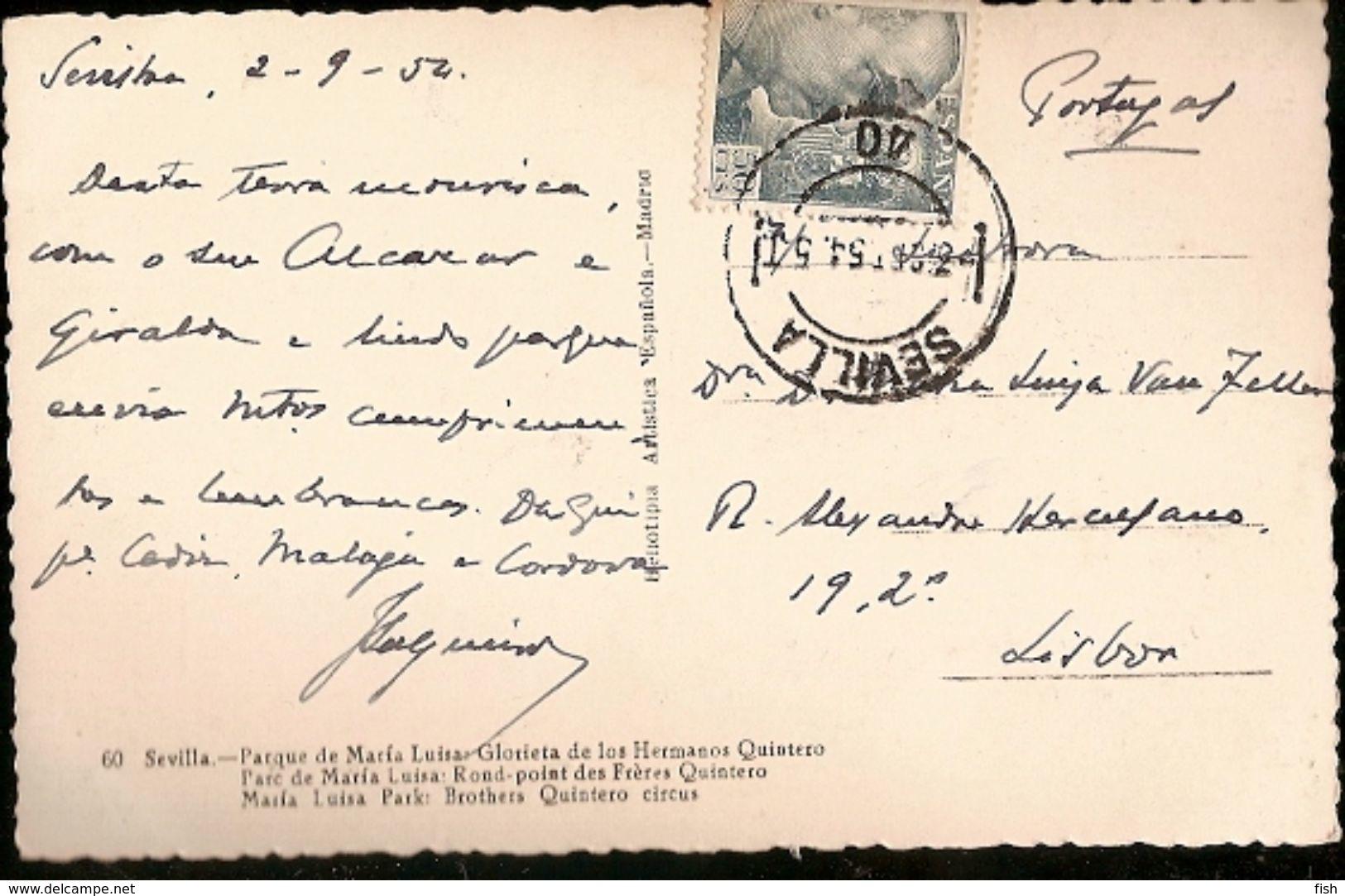 Spain & Circulated Postal, Parque De Maria Luisa Glorieta De Los Hermansos Quinteros, Sevilla To Lisboa 1952 (37) - Monuments