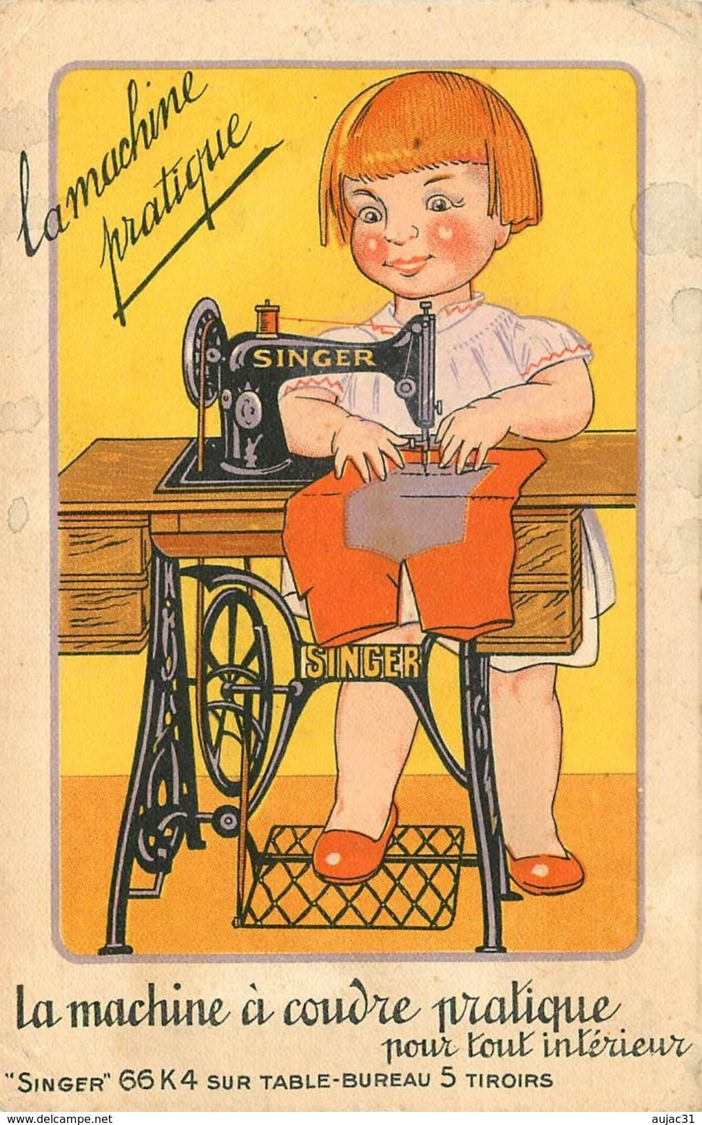 Dép 03 - Publicité Machines à Coudre Singer 43 Boulevard Courtais - Montlucon - La Machine à Coudre Pratique - état - Montlucon