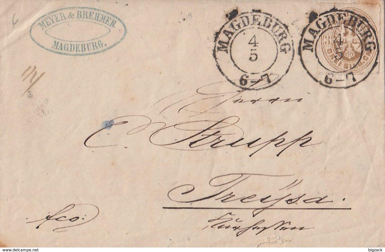 Preussen Brief EF Minr.18 K2 Magdeburg 4.5. Gel Nach K1 Treysa-Bahnhof 5.5. - Preussen