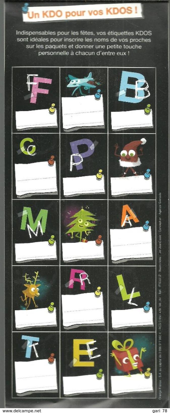 Planche De 15 étiquettes Autocollantes KDOS à Apposer Sur Les Paquets Cadeaux - Vignettes Autocollantes