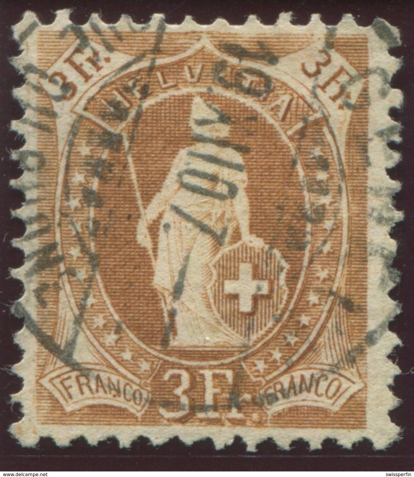 1654 -  3 Fr. Stehende Helvetia Mit Retusche - Marke Signiert Moser Und Mit Attest Renggli - 1882-1906 Armoiries, Helvetia Debout & UPU