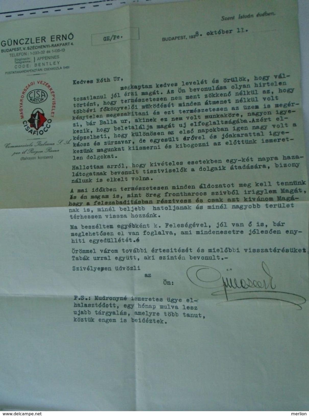 D151438 Hungary  Günczler Ernö - CISAFIOCCO -CISA RAYON - ROMA Italia - Budapest Comm. Letter 1938 - Italia