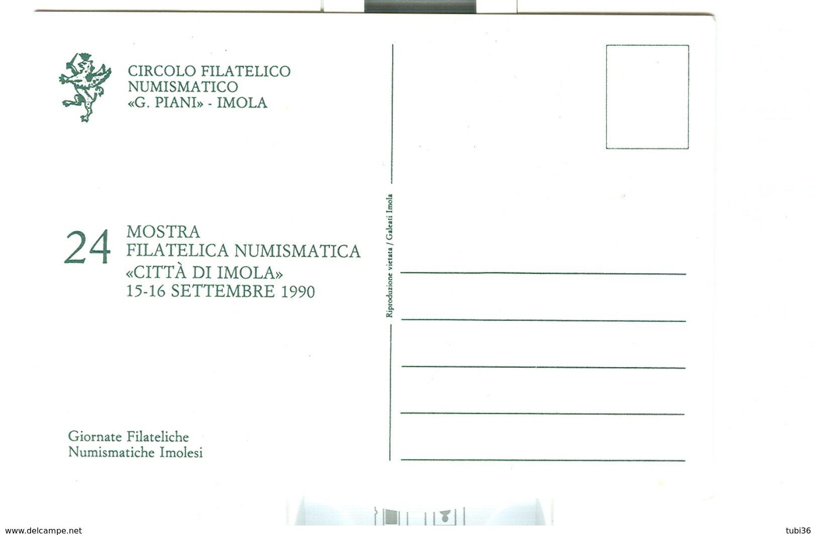 """IMOLA (BOLOGNA) """"45° ANNIVERSARIO LIBERAZIONE"""",1990,ANNULLO SPECIALE FIGURATO SU CARTOLINA DEDICATA, - Esposizioni Filateliche"""