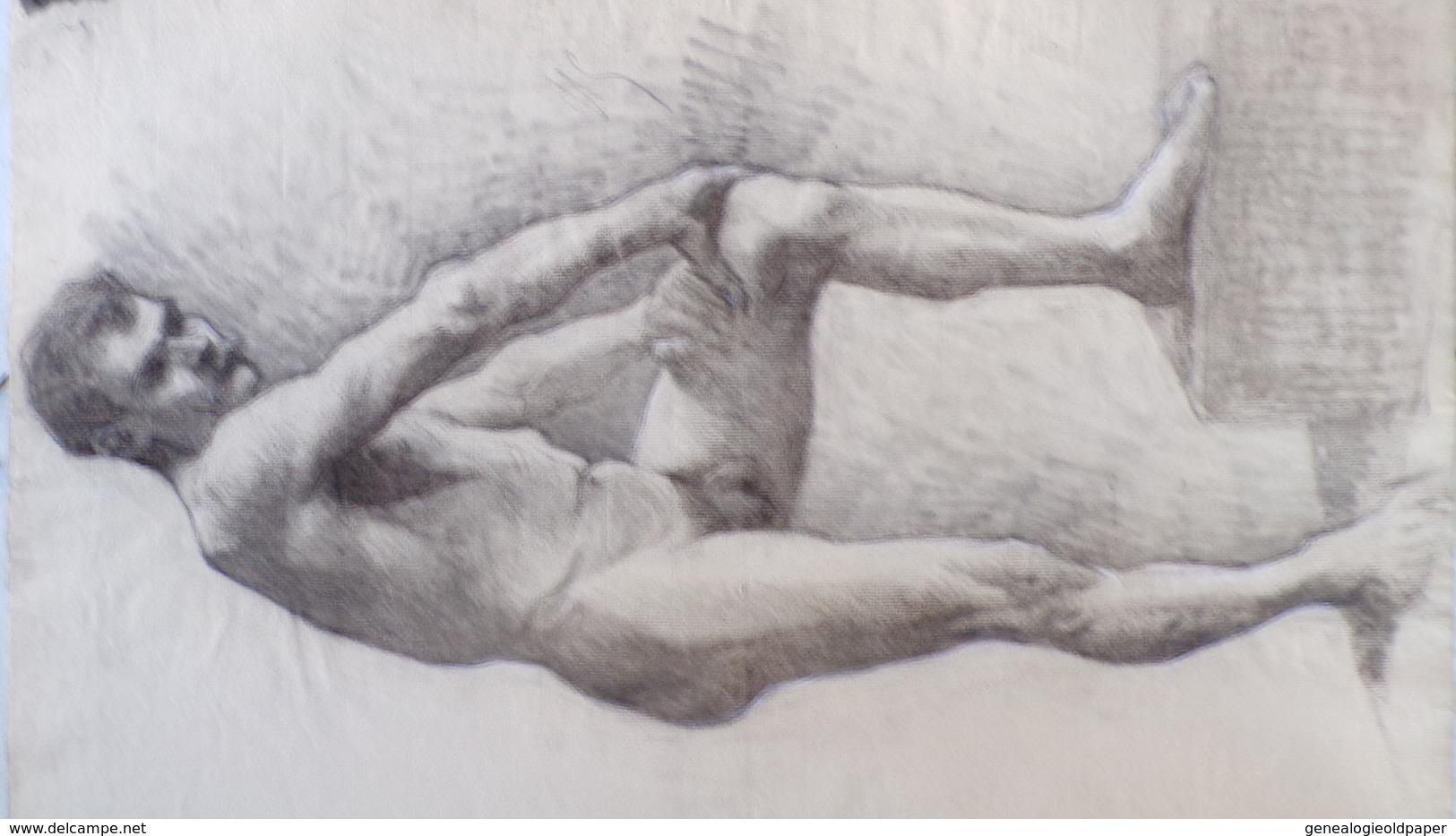 87 - LIMOGES- RARE DESSIN D' HOMME NU -NUDE ATELIER PAUL THOMAS PEINTRE LIMOUSIN 1868-1910 - Dessins
