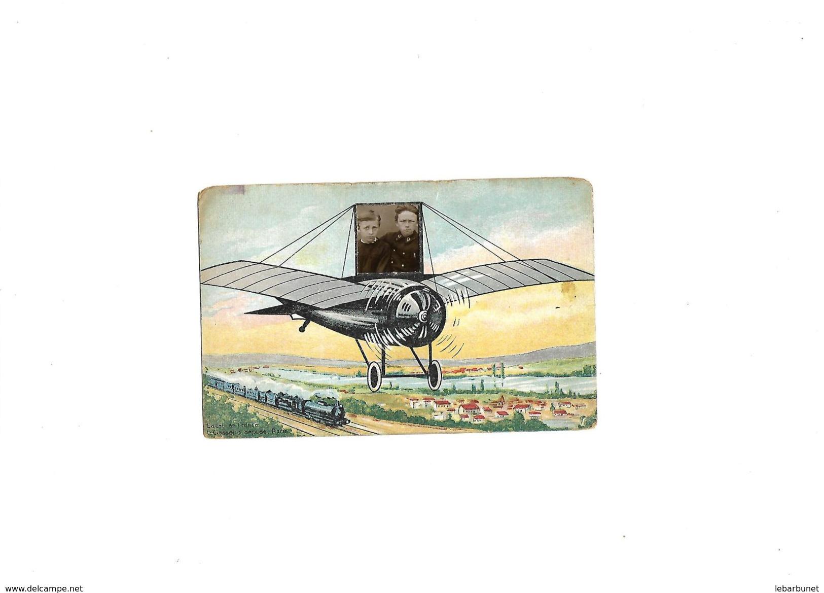 Carte Postale Ancienne Fantaisie Avion Avec Place Pour Mettre Photo - Autres