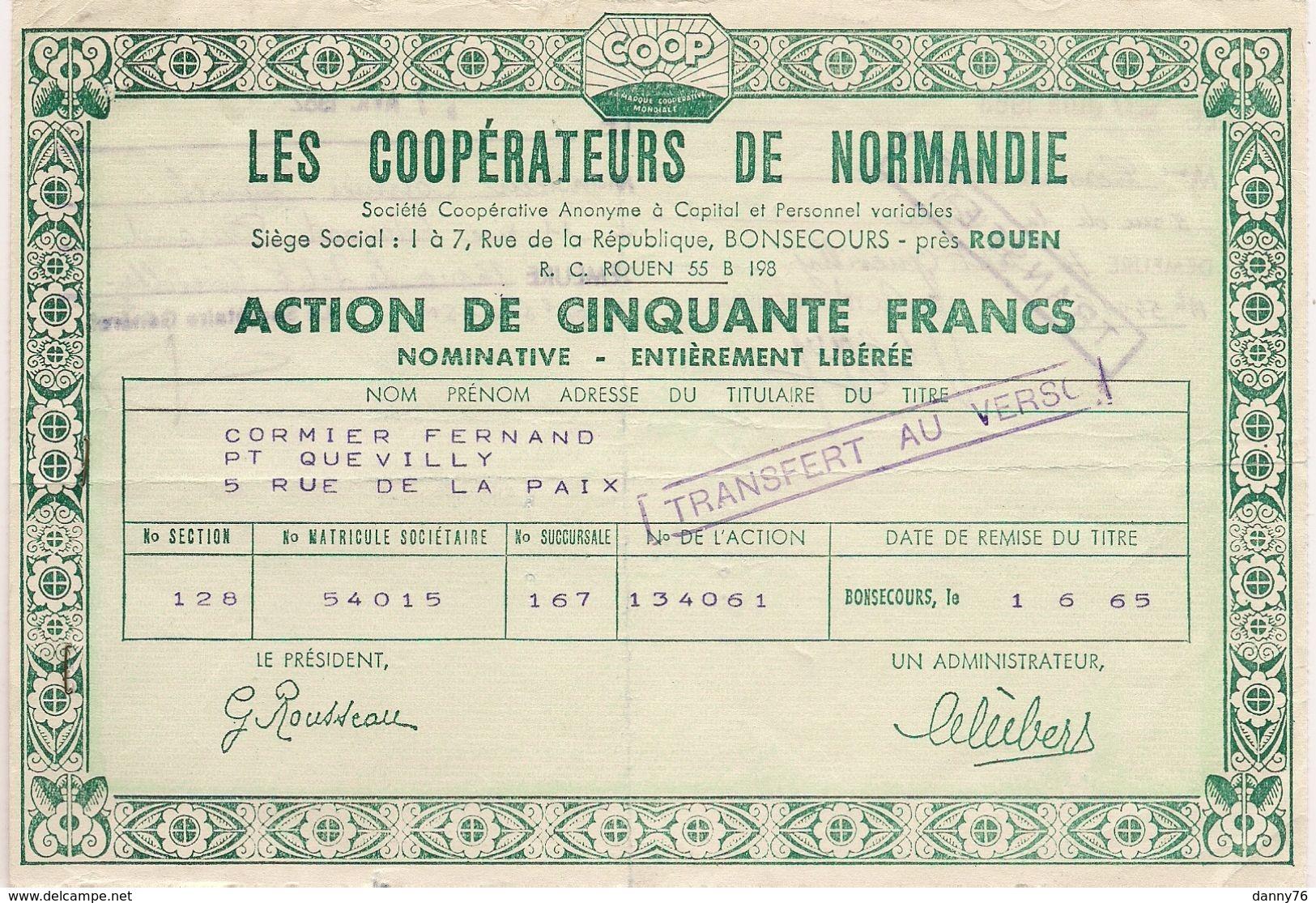 ACTION DE 50 NOUVEAUX FRANCS DES COOPERATEURS DE NORMANDIE à BLOSSEVILLE-BONSECOURS Près ROUEN * 1965 * - Actions & Titres
