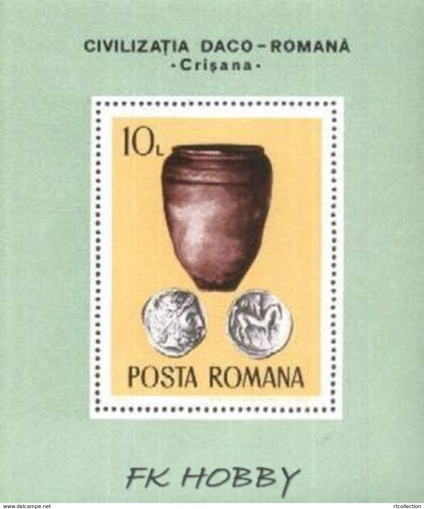 Romania 1976 Zabytki Munzen Archaeology Silver Old Coins On The Stamp Pottery Vase M/s MNH Michel BL 131 - Archaeology