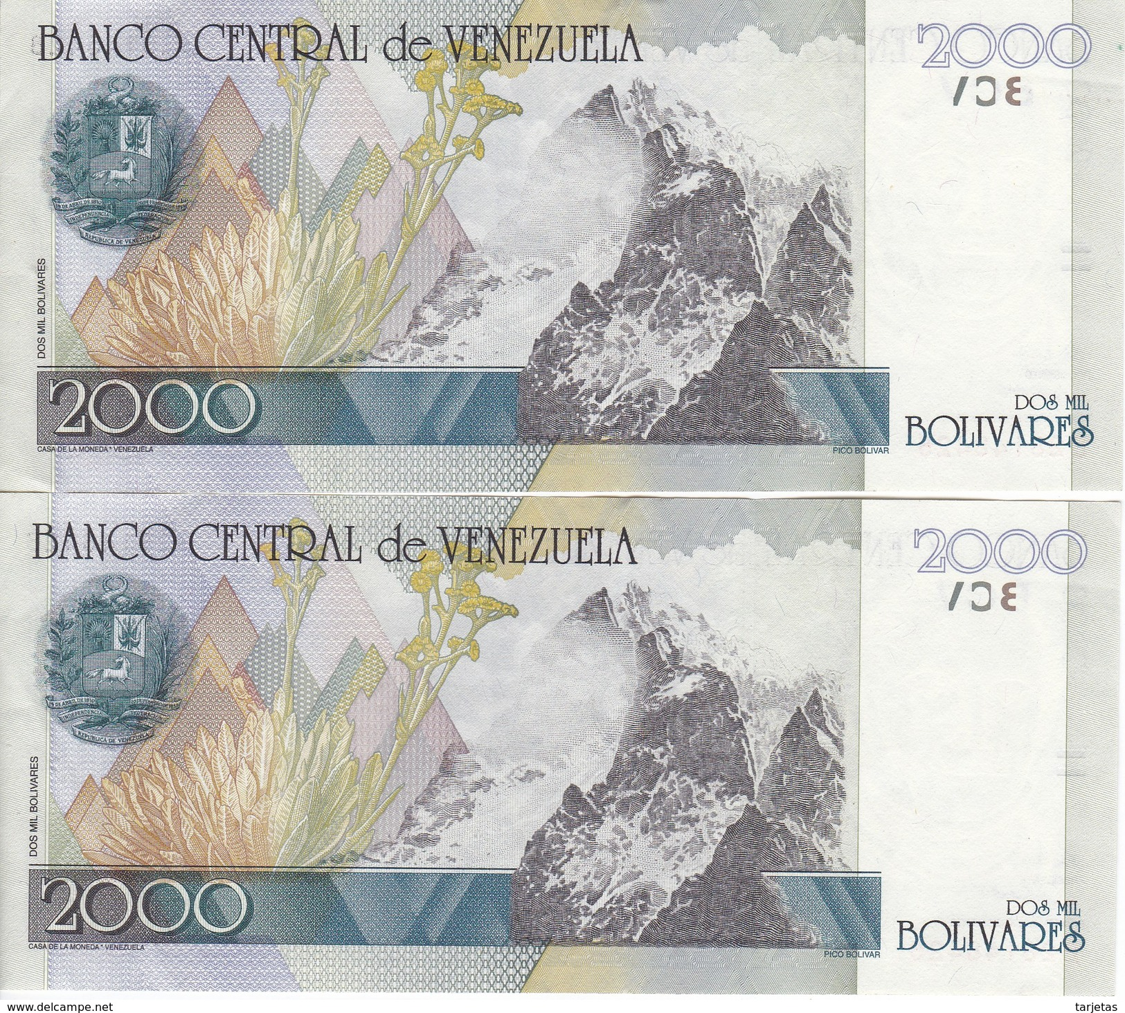 PAREJA CORRELATIVA DE VENEZUELA DE 2000 BOLIVARES DEL AÑO 1998 EN CALIDAD EBC (XF) (BANKNOTE) - Venezuela
