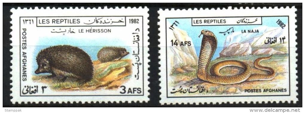 AFGHANISTAN: FAUNA,HEDGEHOG,SNAKE,COBRA,1982,MNH,1009-10 - Afghanistan