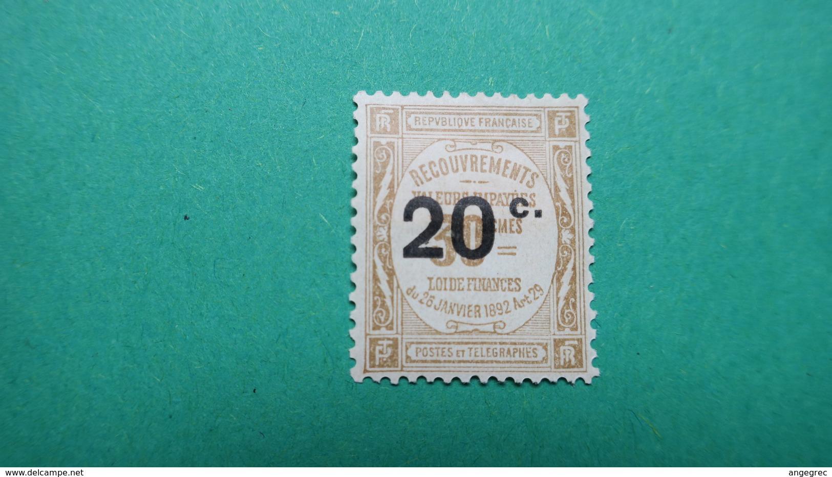 Taxe, Recouvrements Des Valeurs Impayés Surchargés,  N° 49 Neuf * - Postage Due