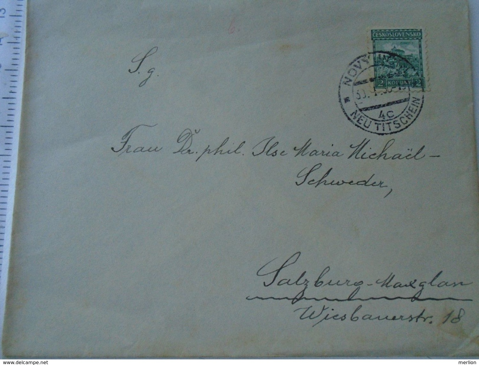 D151508  Ceskoslovakia  Czechoslovakia -Cover -  1930's  Novy Jicin - Neu-Titschein  -sent To Salzburg -Maxglan - Briefe U. Dokumente