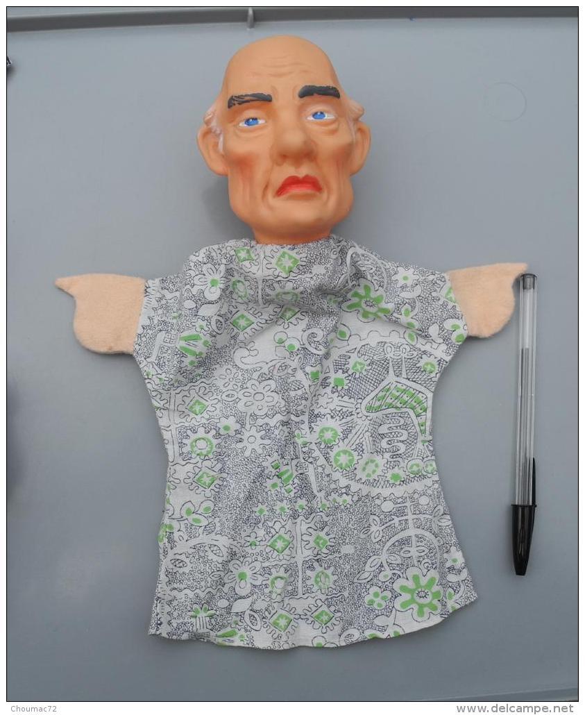 005, Marionnette Le Grand-pére, ête En Caoutchouc Et Vetements Tissus Années 70 ??? - Marionette