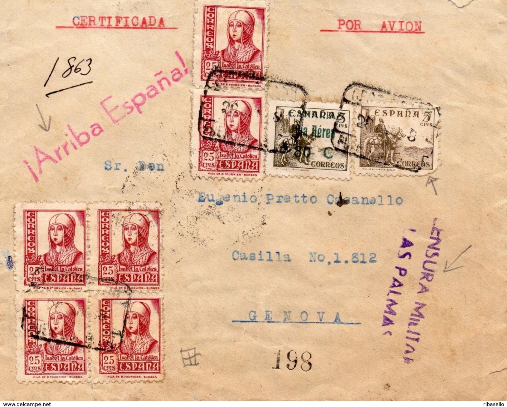 España 1938. Canarias. Carta De Las Palmas A Genova. Censura. - Marcas De Censura Nacional