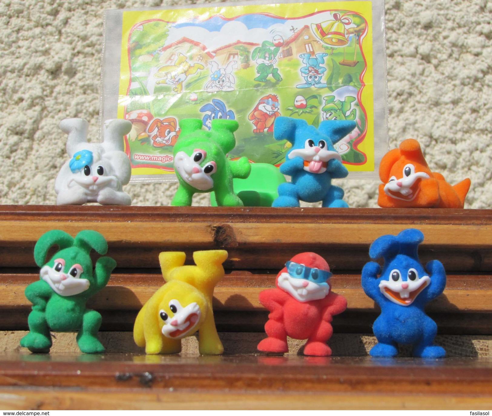 Kinder 2008 : Série Complète Les Lapins De Pâques Avec 1 BPZ (8 Figurines) - Kinder & Diddl