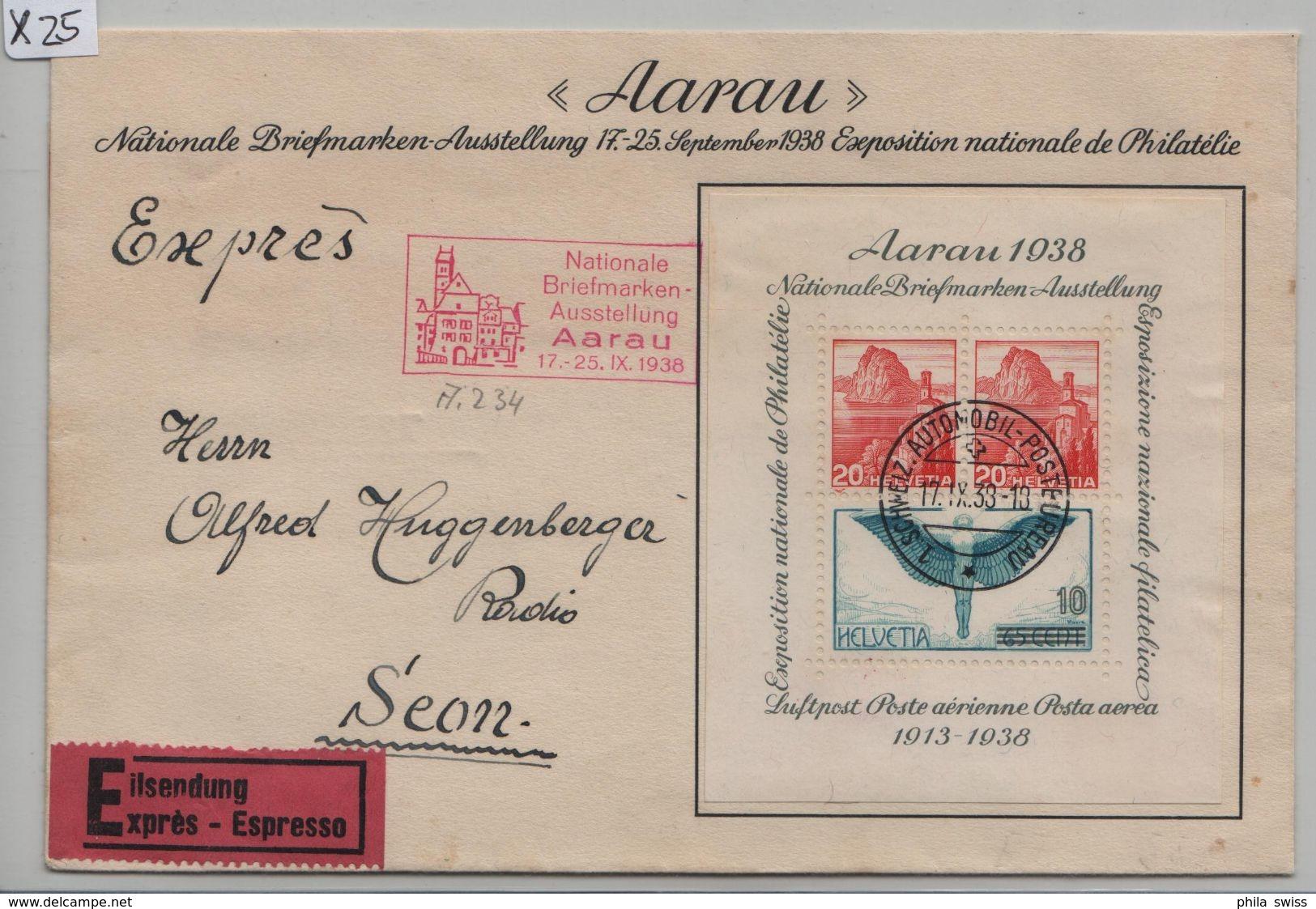 1938 Aarau Briefmarkenausstellung Exposition Block FDC Expres To Seon SBB W11/Bl. Roter Sonderstempel - Blocs & Feuillets