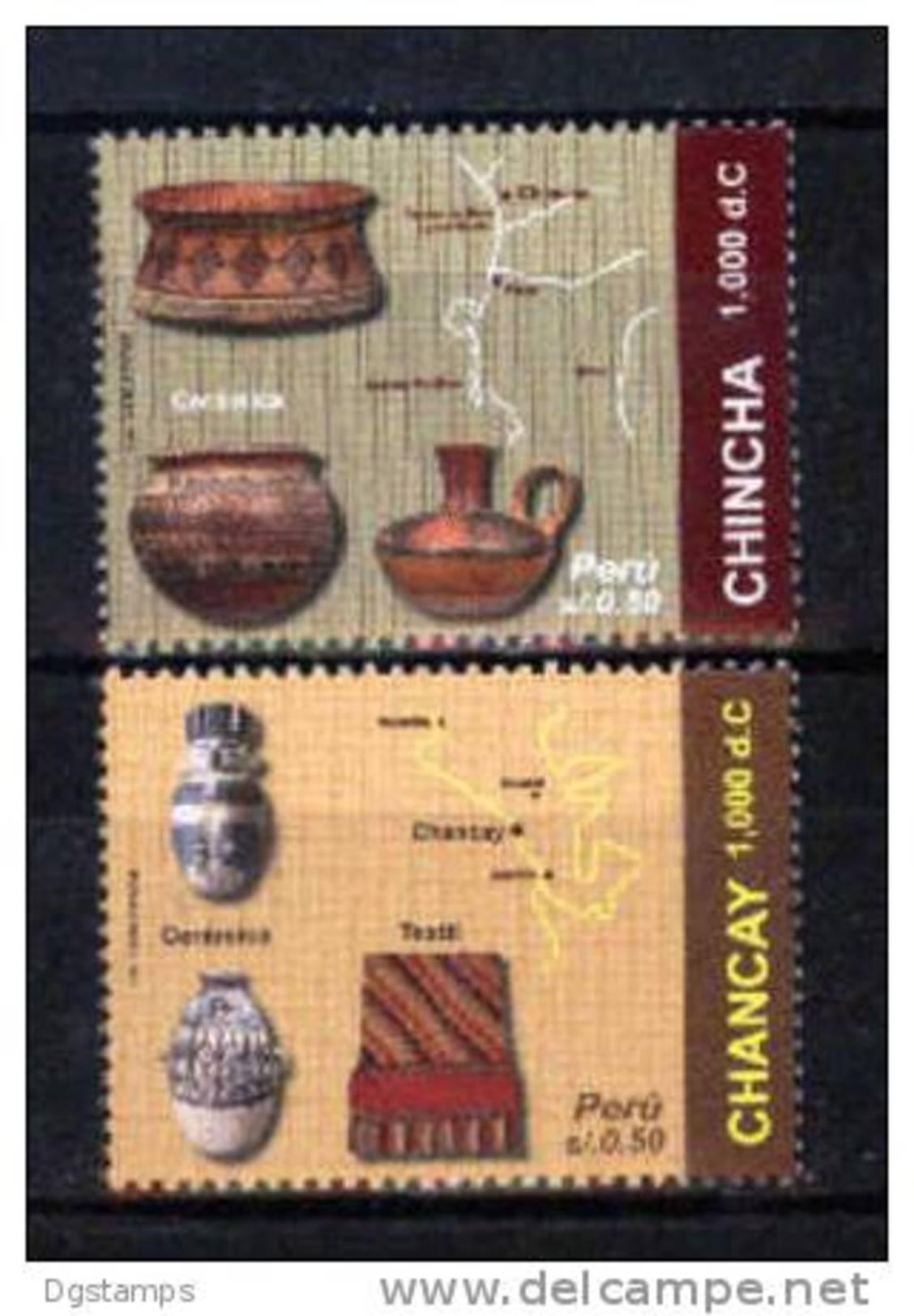 Peru 2010 ** YT1061-62 Culturas Chancay Y Chincha. Ceramicas Y Textiles. Mapas. - Archeologia