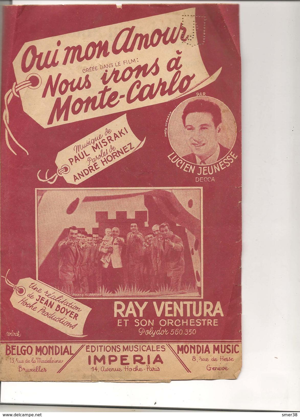Partition- Oui Mon Amour (Nous Irons A Monte Carlo) -musique: Paul MISRAKI - Paroles:Andre Hornez - Musique & Instruments