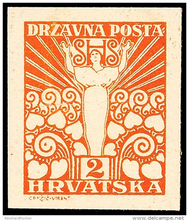 2 F. Freimarke, Druckprobe Von Der III. Platte In Originalfarbe Auf Weißem Nicht Gummierten Kartonpapier,... - Yugoslavia