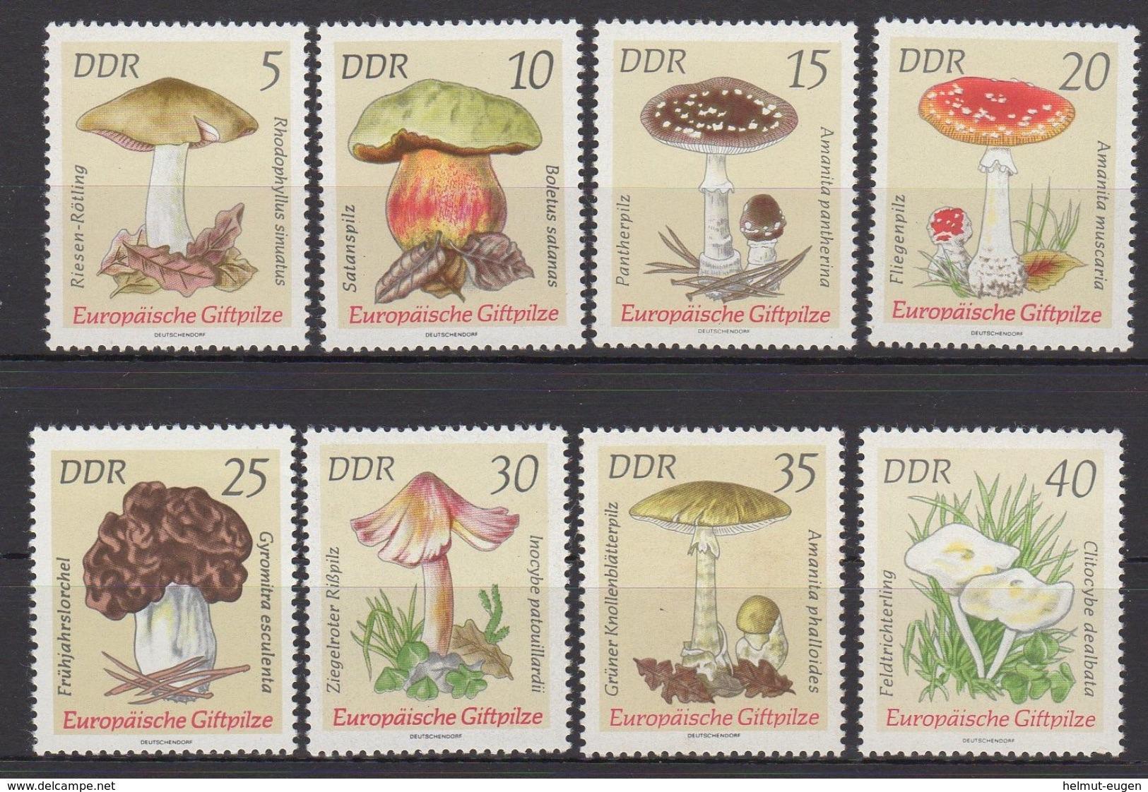 DDR / Europäische Giftpilze / MiNr. 1933 - 1940 - Unused Stamps