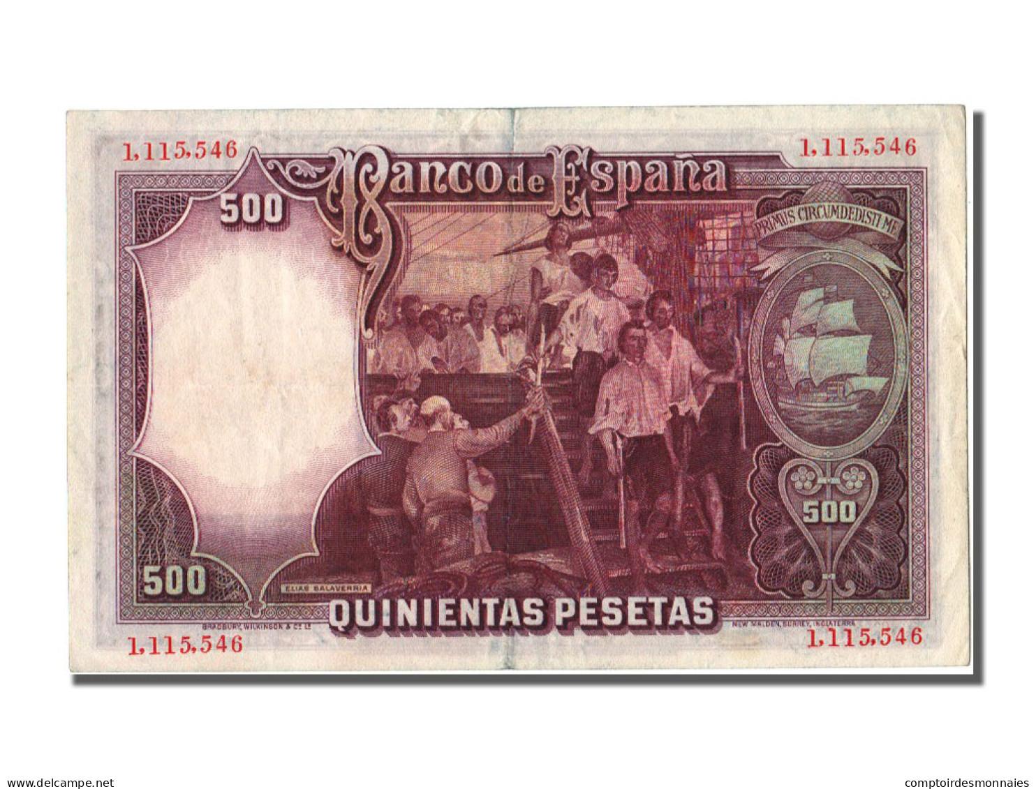 Espagne, 500 Pesetas Type Elcano - [ 2] 1931-1936 : Republic