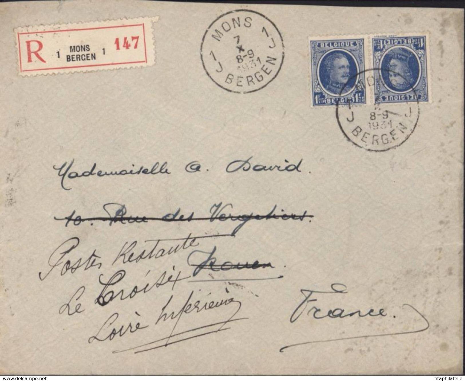 Belgique YT 257 A Tête Beche 1.75F Outremer Type Albert I CAD MONS BERGEN 7 10 31 Recommandé Pour La France Réexpédition - 1915-1920 Albert I