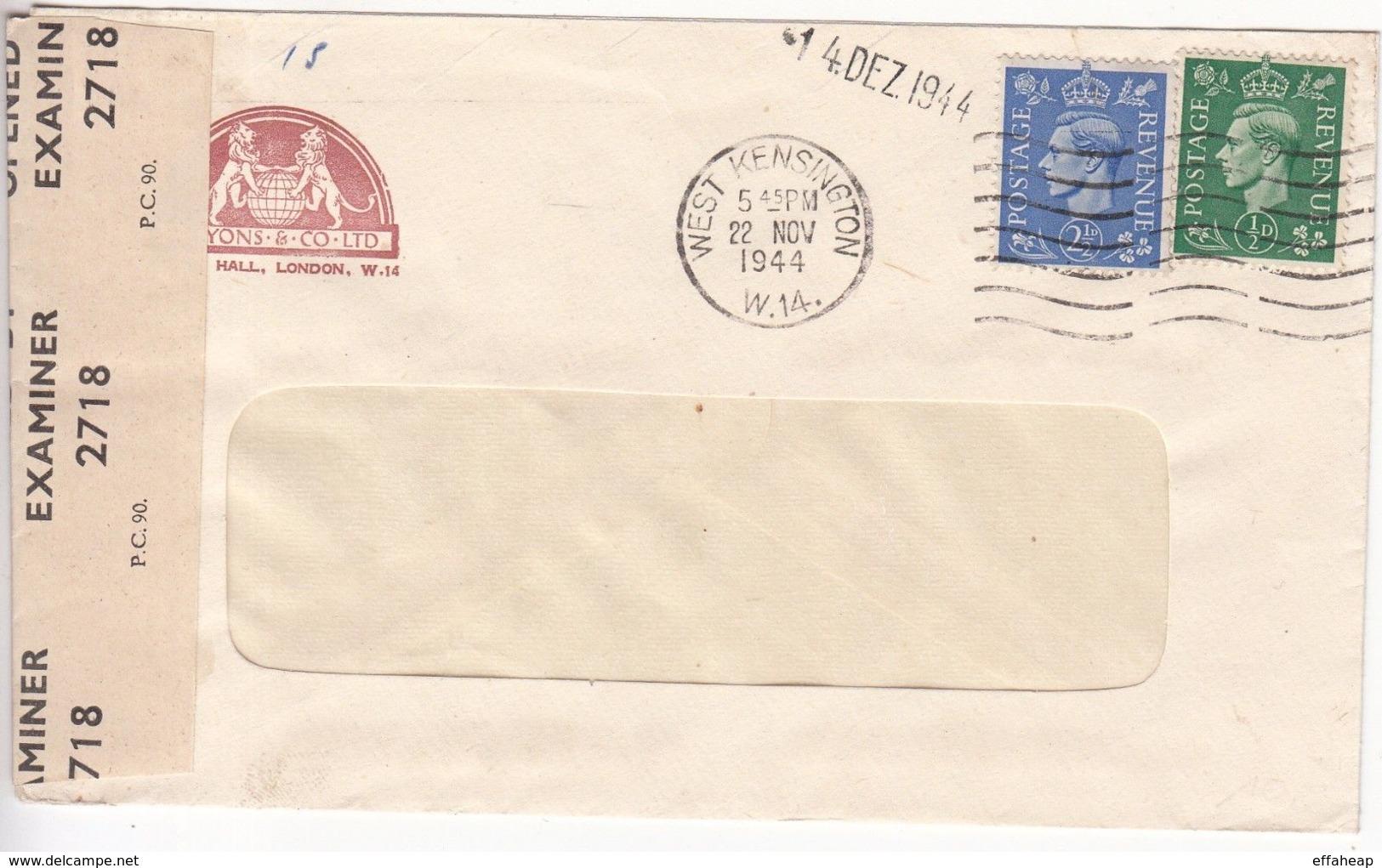 GB: GVI Censored Commercial Cover; Lyons & Co, West Kensington, 25 No-14 De 1944 - 1902-1951 (Kings)