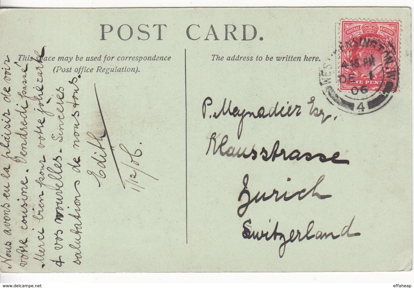 GB: EDVII St Saviours Postcard; West Kensington-Zurich, Switzerland, 1 Dec 1906 - 1902-1951 (Rois)