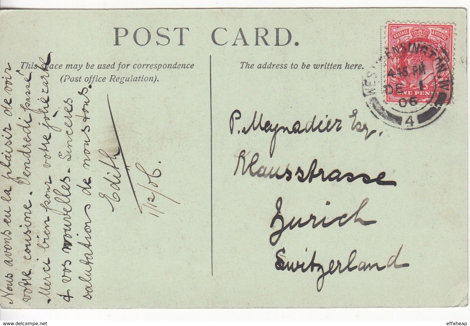 GB: EDVII St Saviours Postcard; West Kensington-Zurich, Switzerland, 1 Dec 1906 - 1902-1951 (Kings)