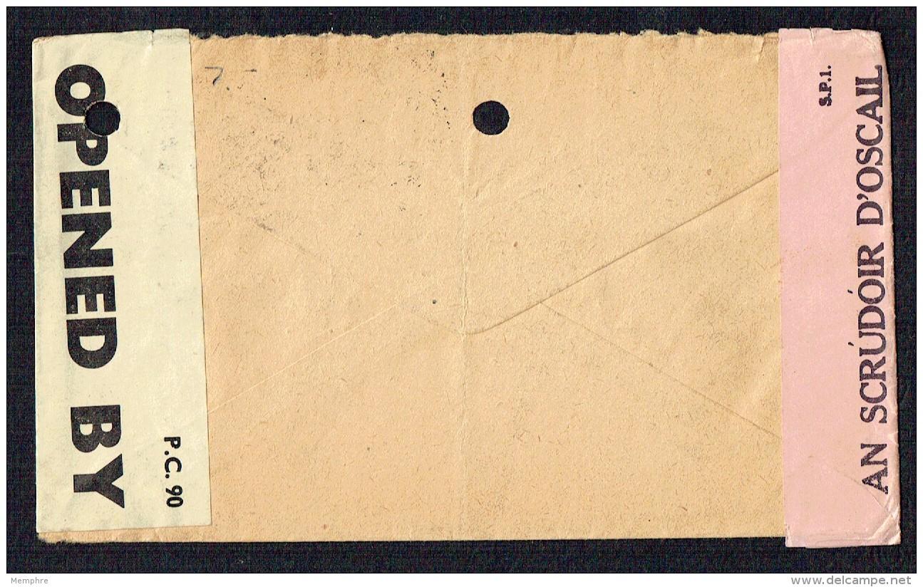 1942  Lettre Pour Les USA - Double Censure Américaine Et Irlandaise - 1937-1949 Éire