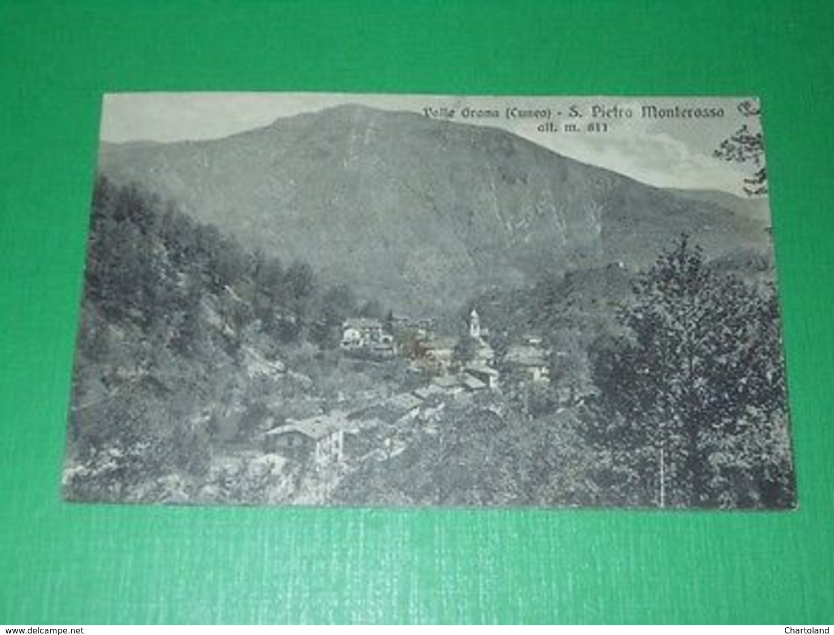 Cartolina Valle Grana ( Cuneo ) - S. Pietro Monterosso - Panorama 1933 - Cuneo