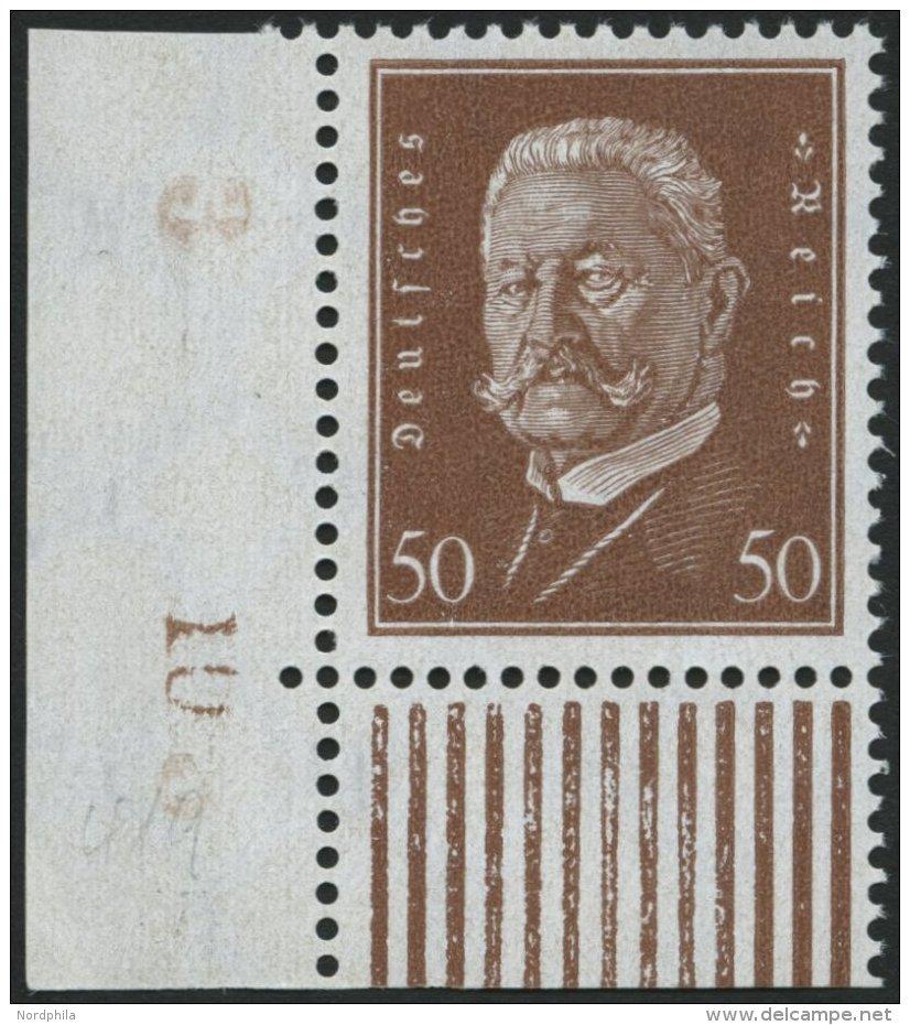 Dt. Reich 420 **, 1928, 50 Pf. Hindenburg, Untere Linke Bogenecke Mit Bogennummer, Pracht, Gepr. Schlegel - Germany