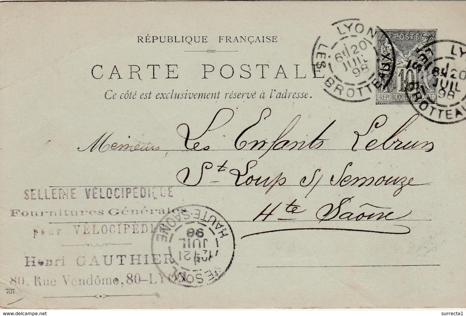 Carte Commerciale / Entier 1898 / Henri GAUTHIER / Sellerie Vélocipédique / Vélo / 69 Lyon Rhône - Cartes