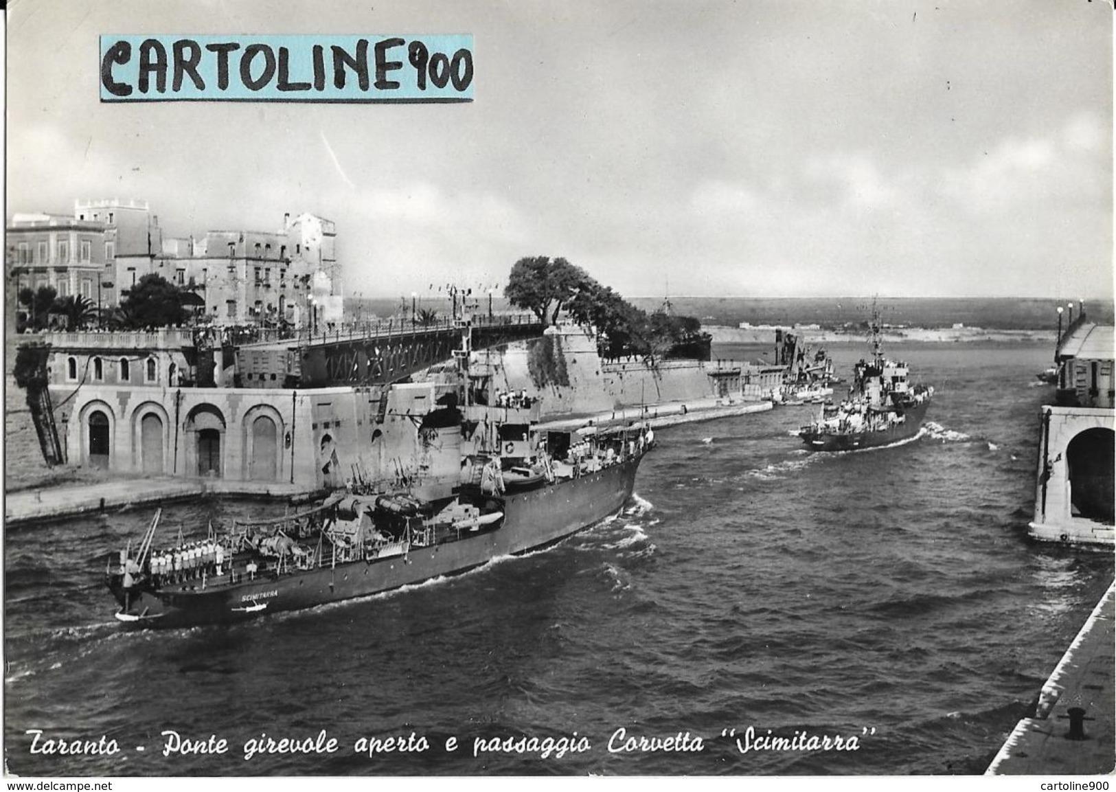 Nave Corvetta Scimitarra Al Passaggio Ponte Girevole Taranto Puglia Anni 50/60 - Guerra