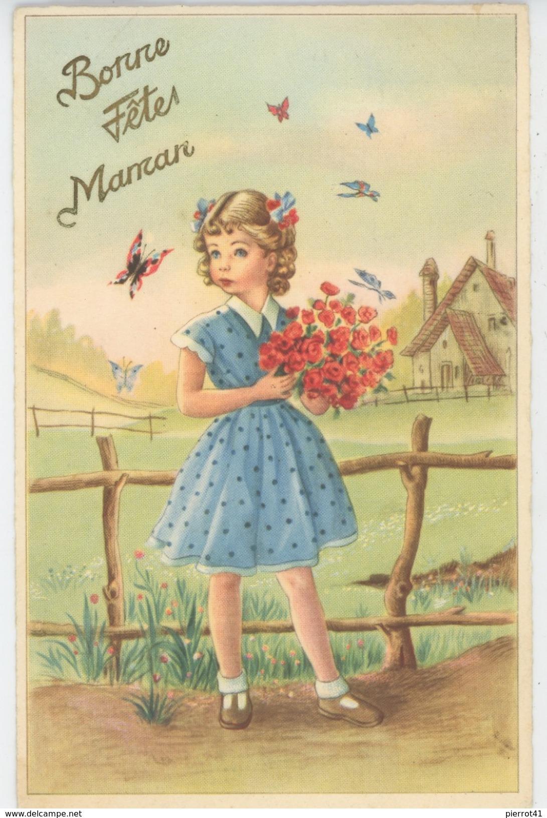 """ENFANTS - Lot De 3 Jolies Cartes Fantaisie Femme Bébé Fillette Avec Fleurs Papillons """"Bonne Fête Maman """" - Fête Des Mères"""