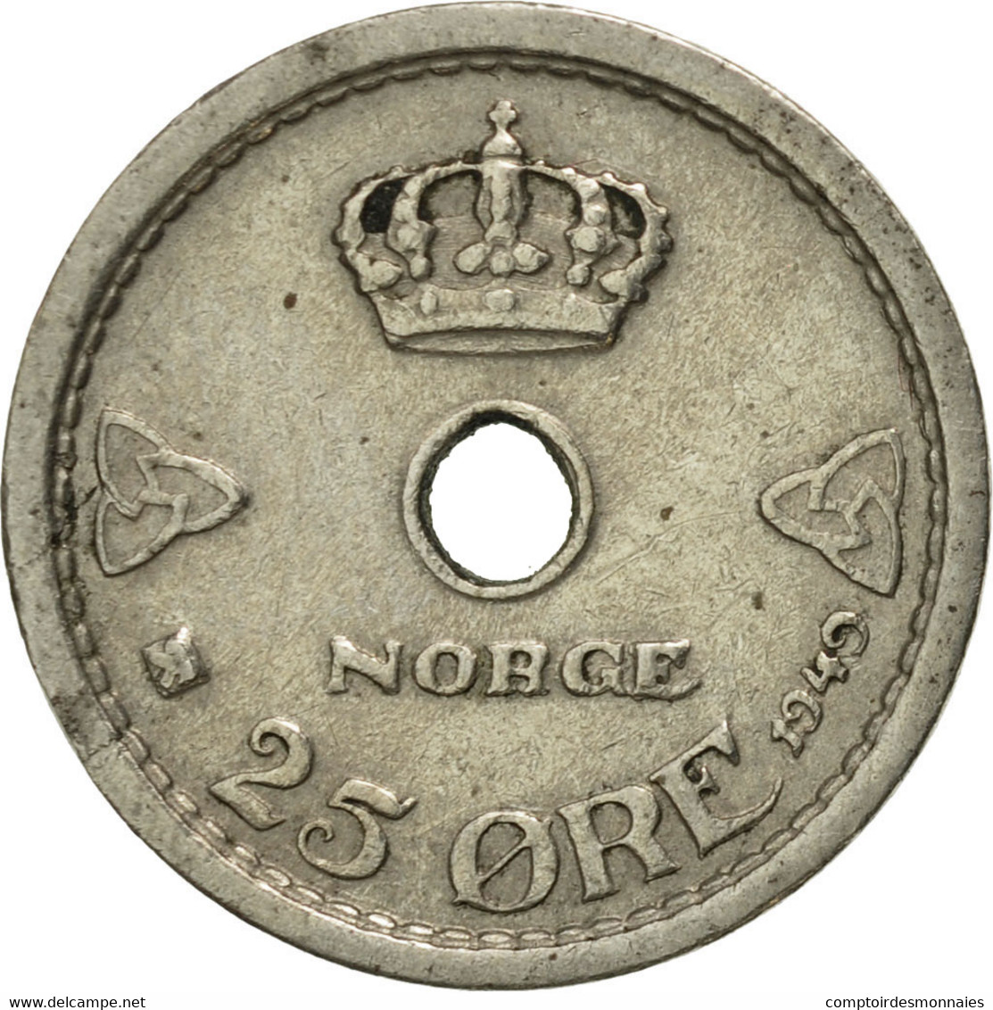 Norvège, Haakon VII, 25 Öre, 1949, TTB+, Copper-nickel, KM:384 - Norvège