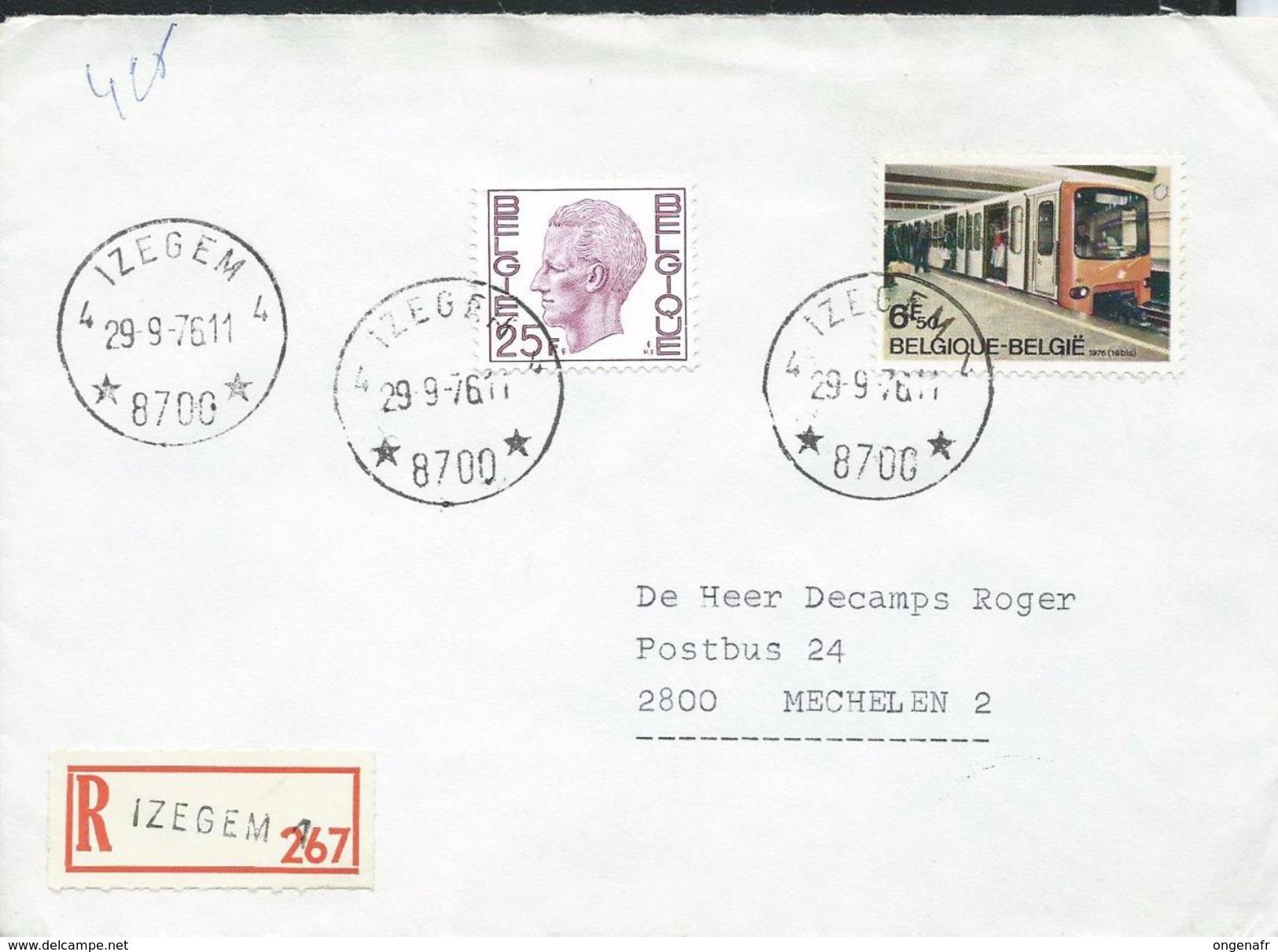 Doc. De   IZEGEM 4  ( 8700)  Le 29/09/1976  En Rec. De Izegem 1 - Marcophilie