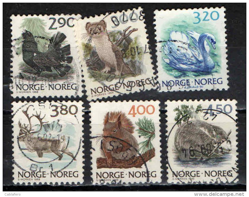 NORVEGIA - 1988 - FAUNA NORVEGESE: VOLPE ROSSA - ERMELLINO - SCOIATTOLO ECC - USATI - Oblitérés