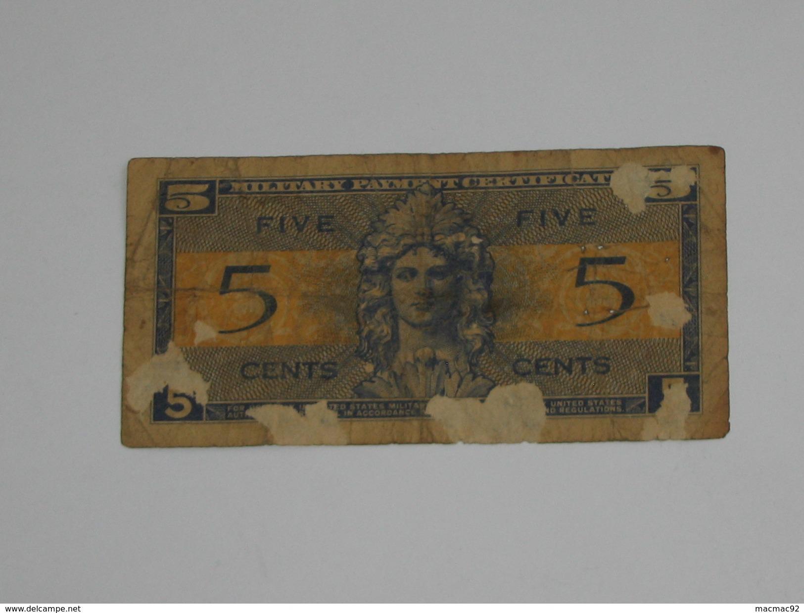 5 Five Cents Série 521 Miltary Payment Certificate 1954-1958 *** EN ACHAT IMMEDIAT *** - 1954-1958 - Reeksen 521