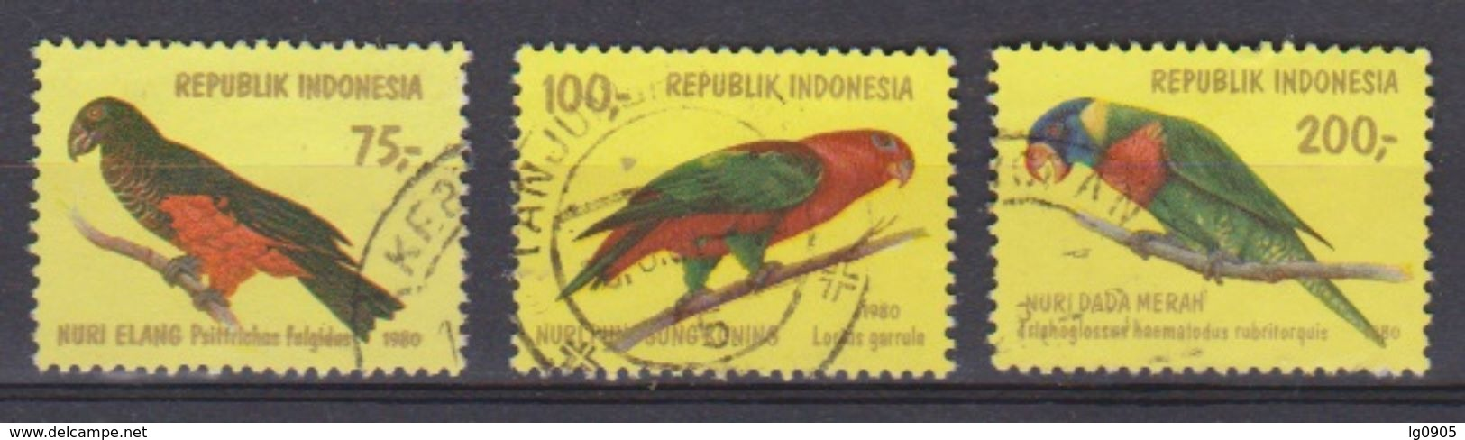 Indonesie Indonesia 1022-1024 Used ;  Papegaai, Perroquet, Perruche, Parrakeet, Parots, Papagayo, Cotorra, 1980 - Papegaaien, Parkieten
