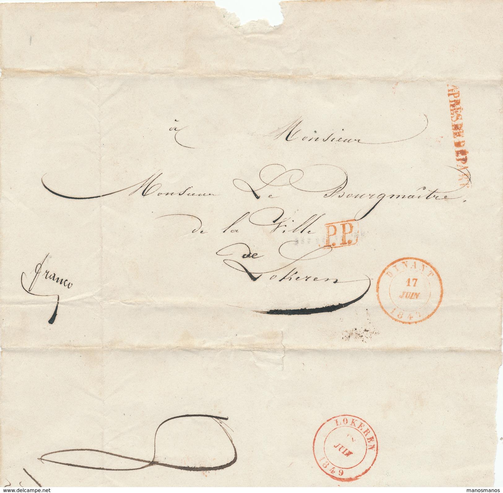 384/25 - Lettre Précurseur DINANT 1849 En PORT PAYE Vers Le Bourgmestre De LOKEREN - APRES LE DEPART - 1830-1849 (Belgique Indépendante)