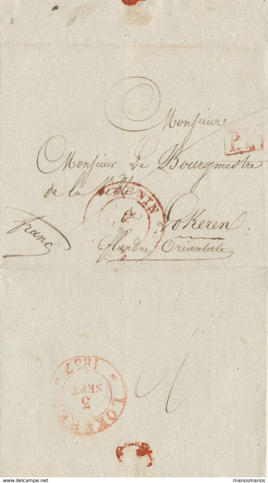 386/25 - Lettre Précurseur MENIN 1837 En PORT PAYE Vers Le Bourgmestre De LOKEREN - 1830-1849 (Belgique Indépendante)