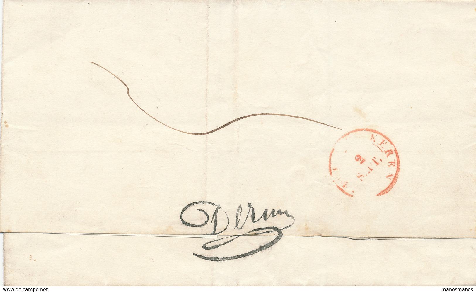 390/25 - Lettre Précurseur SPA 1843 En PORT PAYE Vers Le Bourgmestre De LOKEREN - 1830-1849 (Belgique Indépendante)