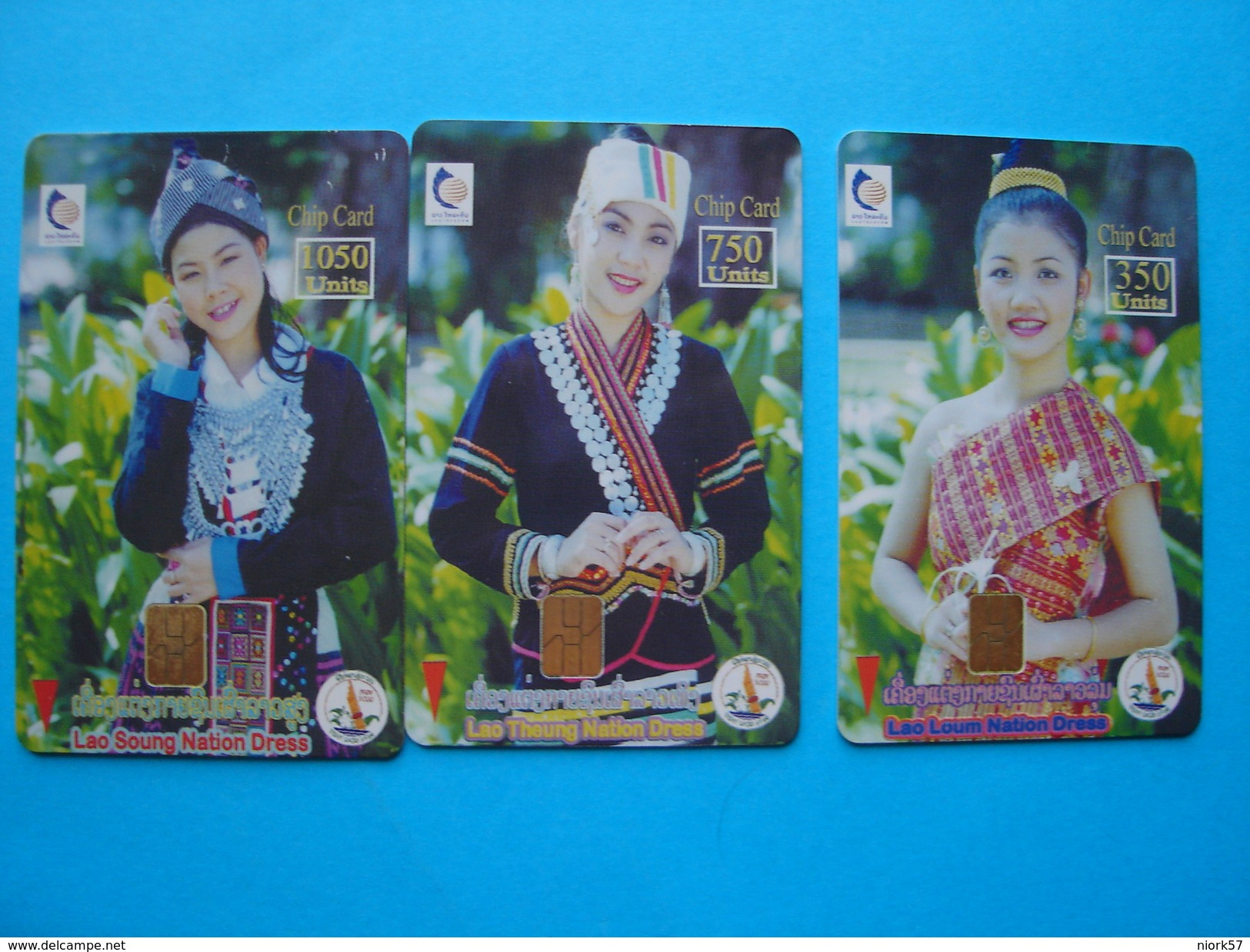 LAOS USED SET 3 FIRST CHIPS CARDS WOMENS - Laos
