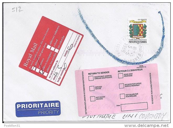 TP N° 512 SUR LETTRE  DU 5.5.99 POUR LE ROYAUME UNI - Französisch Andorra