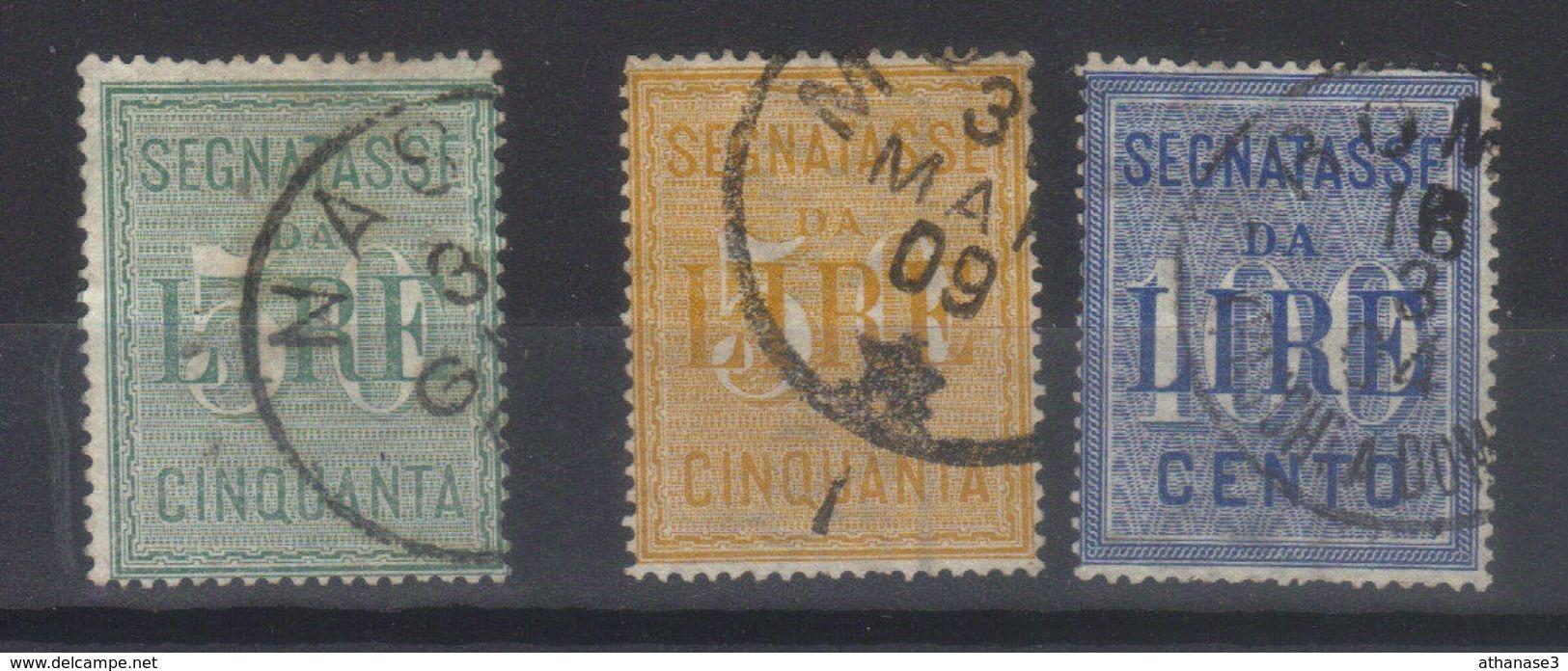 ITALIE   Taxes       N°s  20 (1884),25,26 (1903)     SASS N°s 15, 31 ,32 - 1900-44 Vittorio Emanuele III