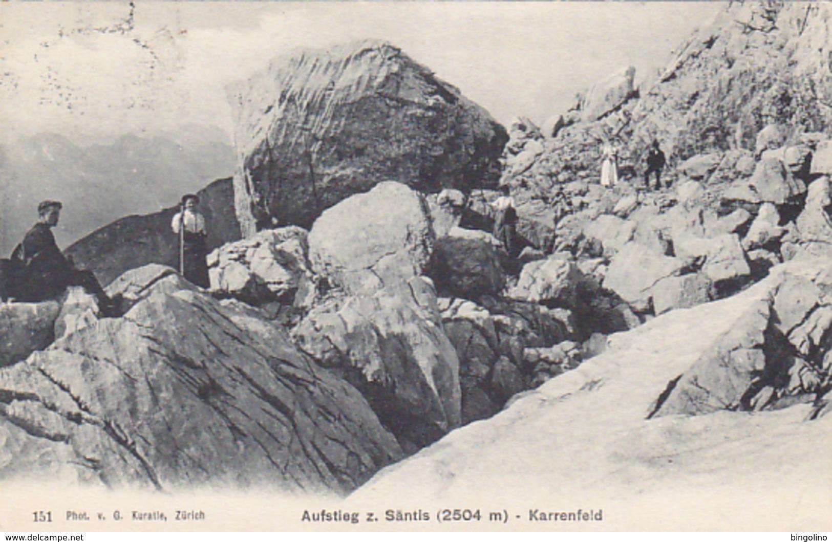 Aufstieg Zum Säntis - Karrenfeld - Animiert - 1916 - Nicht Häufig       (P-62-40720) - AI Appenzell Rhodes-Intérieures