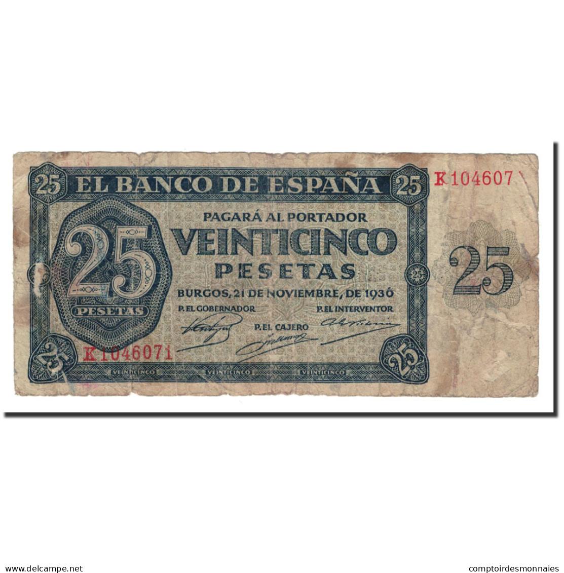 Espagne, 25 Pesetas, 1936, KM:99a, 1936-11-21, B - [ 3] 1936-1975 : Regime Di Franco