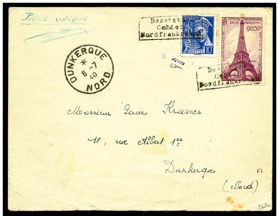 France N°407 Et 429, Avec La Surcharge De Dunkerque, Sur Enveloppe Ave Càd De Dunkerque 6 Juillet 1940 Pour D - War 1939-45